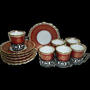 18pc Aynsley Bone China Demitasse Coffee Cups & Saucers + Walker & Hall Sterling Silver Holders