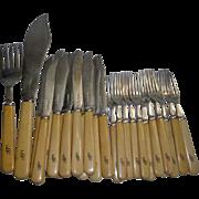 26pc Mappin & Webb Sterling Silver & Bone Fish Knives & Forks  1,010 grams