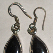 Sterling Silver & Black Teardrop Earrings