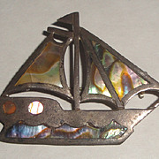 Sterling Silver & Mother of Pearl Sailboat Pin Brooch