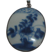 Pretty Sterling Silver & Porcelain Pendant
