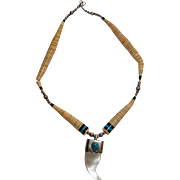 Vintage Necklace of Stone Discs, Turquoise and Abalone Horn