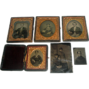 Lot of 6 Early Photographs - Ambrotypes & Tin Types