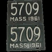 2 Vintage Motorcycle License Plates - 1961 Massachusetts