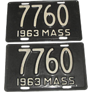 2 Vintage Motorcycle License Plates - 1963 Massachusetts