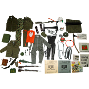 Over 50 Vintage G.I. Joe Action Figure Accessories MINT Jackets Helmets Guns Knives Bunk Grenades Field Telephones ++