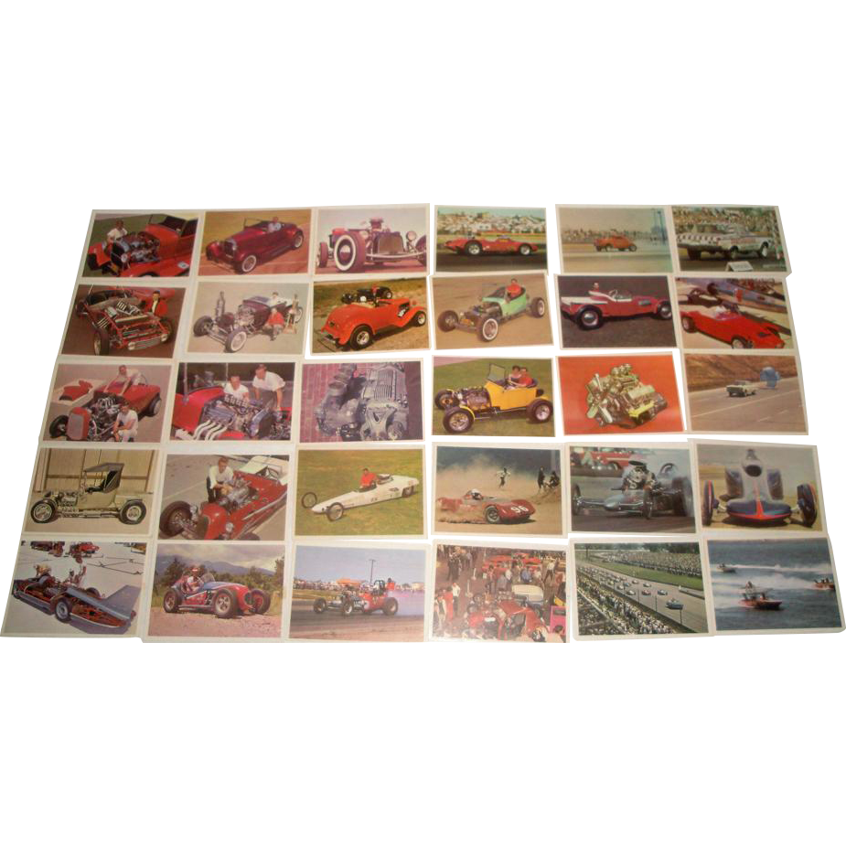 vintage 1960s hot rod magazine auto racing trading cards