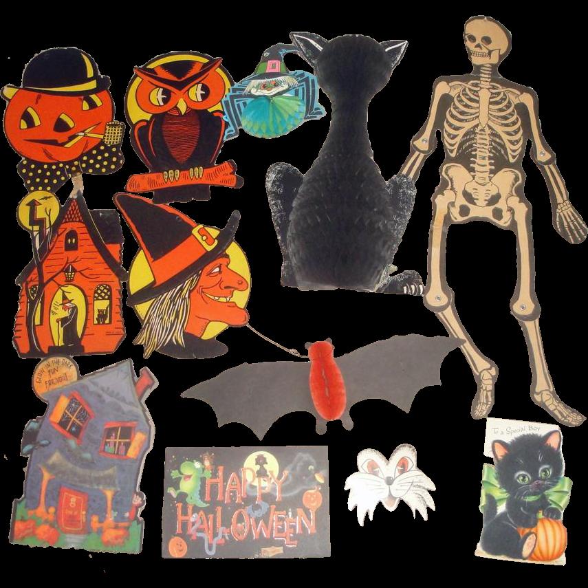 12 vintage halloween decorations tissue paper cat for Antique halloween decoration