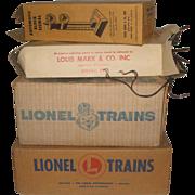 Lot of Vintage Lionel & Louis Marx Model Train Items - Horse Express, Flat Car, Switch Set + Block Signal