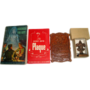 3 Vintage Boy Scouts Items - Handbook, MINT Wood Plaque & Fleur-de-Lis Paperweight