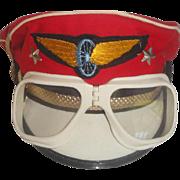 Vintage 1960s Child's Military Visor Hat & Goggles