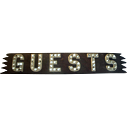 "Vintage ""Guests"" Sign with Glass Balls / Marbles - Double Sided"