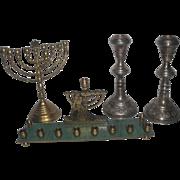 4pc Jewish Hebrew Silverplated Candlesticks & Brass Menorahs