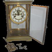 Vintage Waterbury Crystal Regulator Clock with Porcelain Dial & Nice Pendulum