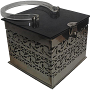 Vintage Metal Purse Handbag with Lucite Top Bottom & Handle