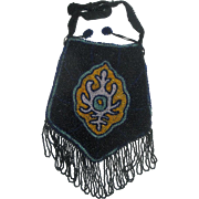 Vintage Beaded Handbag Purse with Drawstring Top & Handle