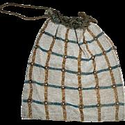 Vintage Beaded Drawstring Handbag Purse with Block Pattern