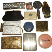 12 Vintage Powder Compacts & Cases - Dorset, Elgin, Leather, Kaycraft Mother-of-Pearl, Denmark Mirror ++