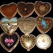 9 Vintage Powder Compacts & Cases - Heart Shapes, Niagara Falls, Syracuse University, Tova +