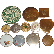 12 Vintage Powder Compacts & Cases - French, Stratton England, 1924 W&H, Zell +