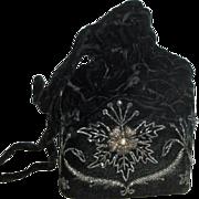 Vintage Black Velvet Drawstring Purse Handbag with Metallic Thread Flowers