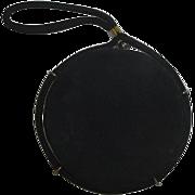 Vintage Black Round Pillbox Purse / Handbag