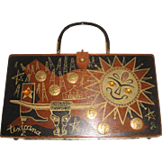 "1962 Enid Collins of Texas Wooden Bag Box ""Texicana"" Texas Boot Oil Rigs ++"
