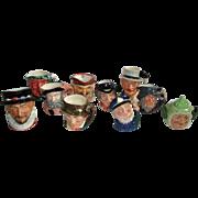 10 Vintage Toby Face Mugs by Royal Doulton, Lancaster, Artone & Occ Japan