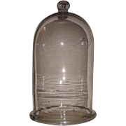 Huge Heavy Antique Glass Apothecary Dome with Ground Rim & Applied Knob