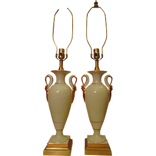 Pair Frederick Cooper Swan Table Lamps