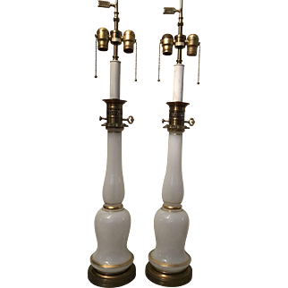 Vintage Pair Warren Kessler Opaline and Brass Table Lamps
