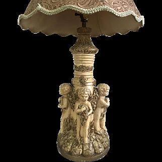 Vintage Neoclassic Italian Putti Cherub Table Lamp