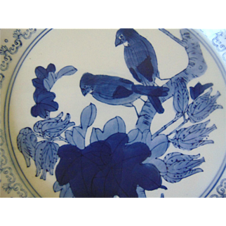 Antique Chinese Canton Blue and White Warming Dish