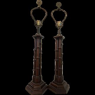 Vintage Pair Knob Creek Cherry Wood Table Lamps