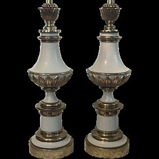 Vintage Pair Stiffel Brass Enamel Hollywood Regency Table Lamps