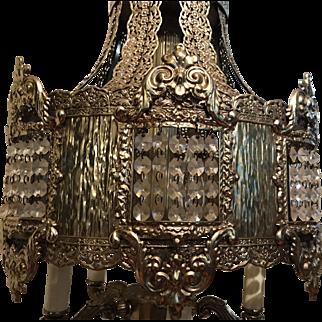 Vintage Cast Brass Hollywood Regency Waterfall Prism Table Lamp