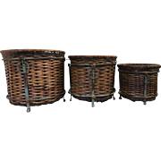 Vintage Three Piece Set Woven Wicker Rattan Metal Plant Baskets