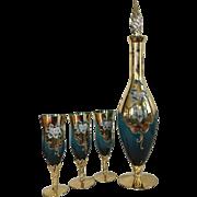 Vintage Italian Murano Venetian Teal Enameled Gold Gilt Decanter Set
