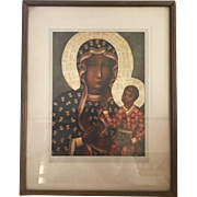 Vintage Artwork Print Our Lady of Czestochowa Icon The Black Madonna