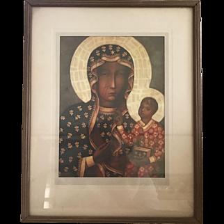 Vintage Artwork Print Our Lady of Czestochowa Icon The Black Madonna
