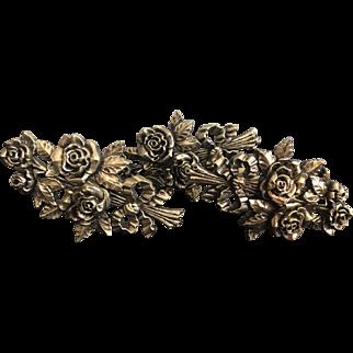 Vintage Gilt Resin Carved Rose Flora Curtain Tiebacks Large
