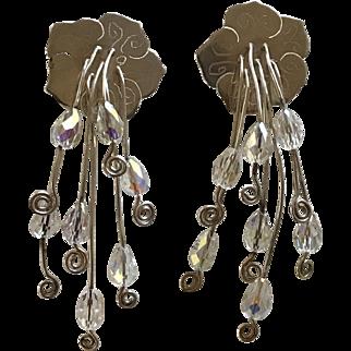 Vintage Sterling Silver Aurora Borealis Artisan Signed Chandelier Earrings