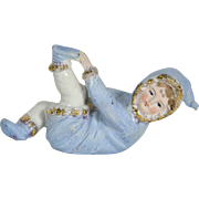 """All Bisque Child In Blue Snow Suit, German, 5 1/2"""" long"""