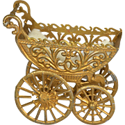 """German Soft Metal Large Baby Carriage, 3 1/4"""" long"""