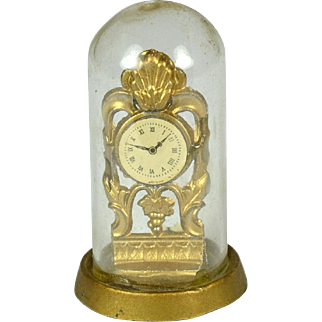 """Doll House Clock Under Dome, 1 3/4"""" Tall"""