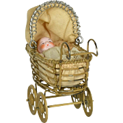 Metal Baby Carriage with All Bisque Baby, German