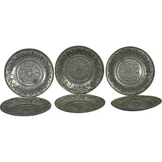 6 Pewter Plates for Your Doll House