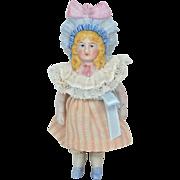 """All Bisque Bonnet Doll, 4 1/2"""" tall, EX"""