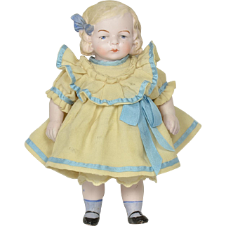 """Large All Bisque Girl by Hertwig, 7 1/2"""" tall"""