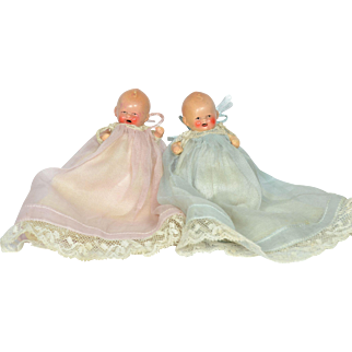 """Pair of Painted Bisque Babies, German, All Original, 3 1/2"""" tall"""